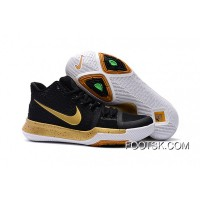 Girls Nike Kyrie 3 Black Gold White Copuon Code
