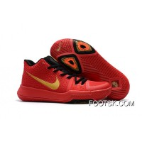 Girls Nike Kyrie 3 Red Black Gold Super Deals