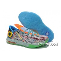 "Free Shipping Girls Nike KD 6 ""What The KD"" Hoop Purple/Urgent Orange-Shark"
