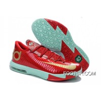 "Girls Nike KD 6 ""Christmas"" Light Crimson/Metallic Gold-Green Glow Top Deals"