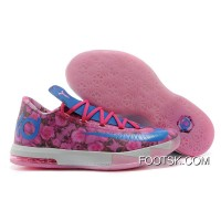 "For Sale Girls Nike KD 6 ""Aunt Pearl"" Light Arctic Pink/Photo Blue-Vivid Pink"
