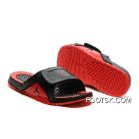 Discount Air Jordan Hydro 12 Slide Sandals Black Red 2016