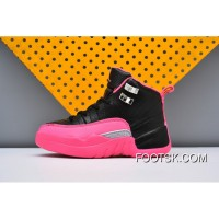 AJ12 AIR Jordan 12 Kids Black Pink Discount