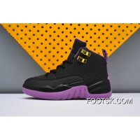 Kids Nike Air Jordan 12 Black Purple Discount