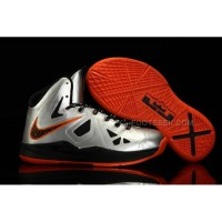 Nike Lebron 10 Kids Shoes Silver/Orange