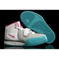 Nike Air Yeezy 2 Kids Shoes Wolf Grey/Think Pink/Chlorine Blue