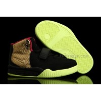 Nike Air Yeezy 2 Kids Shoes Black/Gold Custom by PMK