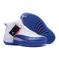 Men's Air Jordan 12 French Blue White Silver Varsity Red Basketball Shoes New