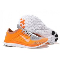 Nike Free 4.0 Flyknit Mens Running Shoes Orange Grey White Authentic