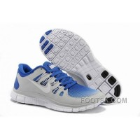 Nike Free 5.0 Mens Light Grey Royalblue Running Shoes Authentic