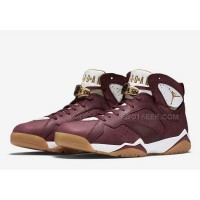 Air Jordan 7 Retro C&C Championship Pack Cigar Team Red Metallic Gold Sail Black Mens Shoes 725093 630