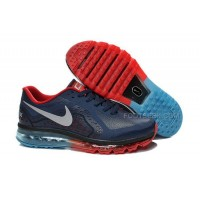 Hot Men Nike Air Max 2014 Dark Blue Fire Red Turquoise Magnet Silver