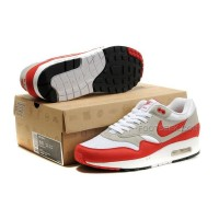 Air Max 87 Mens Shoes White Gray Red