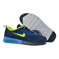 Nike Air Max 87 Thea Flyknit Mens Shoes Running Shoes Navy Blue Grass Green