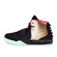 "Authentic Nike Air Yeezy 2 ""Imperial"" Black Gold Glow In The Dark"