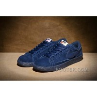 NIKE BLAZER LOW PRM VNTG 443903 Pig Leather Men Navy Blue Free Shipping