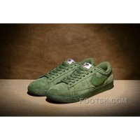 NIKE BLAZER LOW PRM VNTG 443903 Pig Leather Men Green Free Shipping