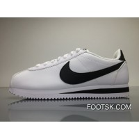 Nike Classic Cortez Leather White Black Women Shoes Sneakers 807471-101 WHITE/BLACK-WHITE Free Shipping