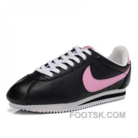 Nike Cortez Leather Women Shoes Black Pink Discount