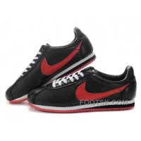 Nike Cortez Leather Women Shoes Black Red Authentic