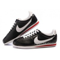 Nike Cortez Leather Women Shoes Black White For Sale