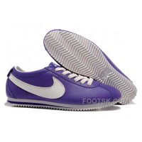 Nike Cortez Leather Women Shoes Dark Purple White Lastest