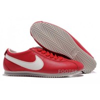 Nike Cortez Leather Women Shoes Dark Red White For Sale