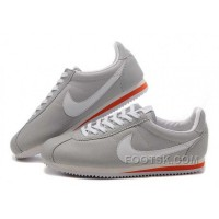 Nike Cortez Leather Women Shoes Gray White Red For Sale