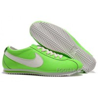 Nike Cortez Leather Women Shoes Green White Christmas Deals