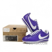 Nike Cortez Leather Women Shoes Purple White Discount