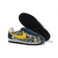 Nike Classic Cortez Nylon Womens Deep Blue Yellow For Sale