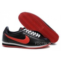 Nike Classic Cortez Nylon Womens Black Red For Sale