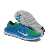 2015 Nike Free Flyknit 4.0 Mens Running Shoes Newest On Sale Couples Sneaker Navy Blue Green