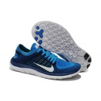 2015 Nike Free Flyknit 4.0 Mens Running Shoes Newest On Sale Couples Sneaker Navy Blue White