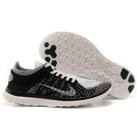 2015 Nike Free Flyknit 4.0 Mens Running Shoes Newest On Sale Black Grey White