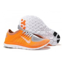 2015 Nike Free Flyknit 4.0 Mens Running Shoes Newest On Sale Grey White Orange Netherlands Fluorescent Yellow