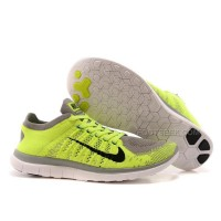 Nike Free Flyknit 4.0 Mens Running Shoes Fluorescent Green Gray For Cheap