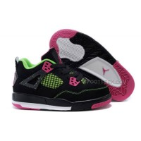 Cheap Kids Jordan 4 Basketball Shoes Black Pink Green For Sale Hot Sale