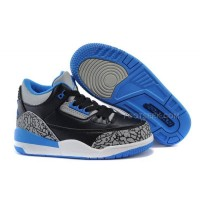 "Kids Jordan 3 ""Sport Blue"" Black/Sport Blue-Wolf Grey Hot Sale"