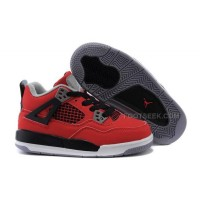 "Kids Air Jordan IV 4 Shoes Retro ""Fire Red Nubuck"" Fire Red/White-Black-Cement Grey Hot Sale"