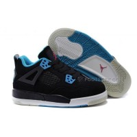 Kids Jordan 4 Basketball Shoes Black Dynamic Blue Vivid Pink Hot Sale