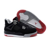 Kids Jordan 4 Bred Basketball Shoes Black/Cement Grey-Fire Red Hot Sale