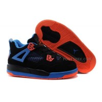 Kids Shoes Jordan 4 IV Black/BlueOrange Blaze-Old Royal For Sale New Arrival