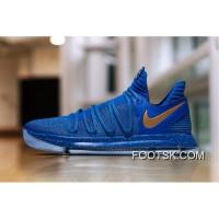 New Nike KD 10 PE Blue Gold For Sale