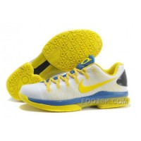 Christmas Deals Nike KD V Elite Mens White Yellow Blue TYKCTb