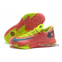 Nike Kevin Durant KD 6 VI Pink/Neon Green-Teal Free Shipping