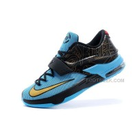 "Cheap Nike KD 7 (VII) ""N7″ Photo Blue/Black-Metallic Gold-Red For Sale Discount Online"