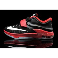 Cheap Nike KD 7 Black Bright Red White Mens Basketball Shoes Discount Online