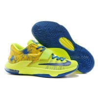 New Arrival Nike KD7 Custom Yellow Fluorescent Blue Men Size 8 To 12