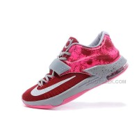 "For Sale Nike KD 7 (VII) ""Crown Jewel"" Custom Team Red/Speckled Grey-Hyper Pink Discount Online"